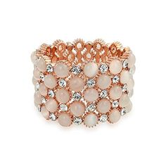 Bling Jewelry Rose Gold Plated Pink Wide Cuff Stretch Bracelet *** Click on the image for additional details.