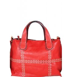 Studded Fashion Wide Satchel Red  Studded Fashion Wide Satchel Red Leather Feel Material 8 in Drop Length Dual Carry Handles Zipper Closing Fully Lined Interior in Fabric Material Gold Toned Hardware Color:  Red Approximate Size: 18L x 9H x 3W Model: 34918
