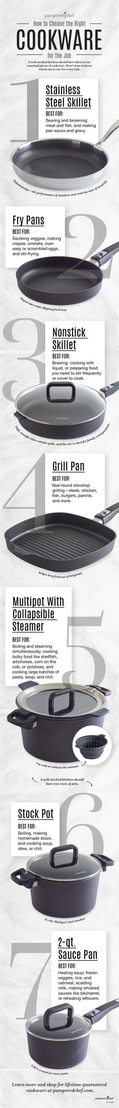 How to Choose the Right Cookware for the Job [Infographic] - Pampered Chef - Deringa Pampered Chef Party, Pampered Chef Recipes, Cooking Tools, Kitchen Hacks, Food Hacks, Food Tips, Cookware, Food Inspiration