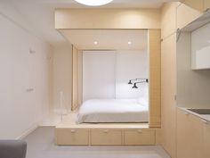 Complete renovation of a 27 meters square single room duplex in Paris – saudade Built In Furniture, Large Furniture, Birchwood Furniture, Large Storage Units, Journal Du Design, Built In Bed, Wooden Screen, Container Design, Duplex