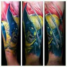 Wolverine tattoo by Bili Vegas, X-men ink, half sleeve