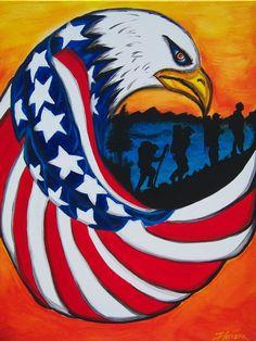 Patriotic Motivational Acrylic on Canvas by Tonysfantabulosart, $500.00