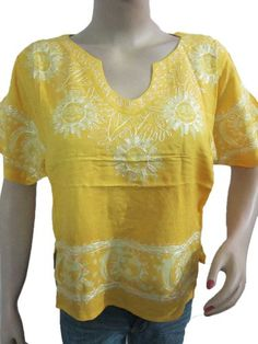 Yellow Blouse Batik Embroidered Short Boho Top M Mogul Interior,http://www.amazon.com/dp/B00EY591Z2/ref=cm_sw_r_pi_dp_dMYjsb027TA10HT8