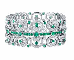 Fabergé Aurora emerald and white diamond bracelet from Les Danses Fantasques collection.