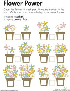 First Grade Place Value Counting Worksheets: Comparing Flowers: Less Than and Greater Than Worksheet