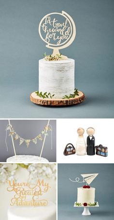 Wedding Theme Ideas Travel Themed Cake Toppers - I'll be honest with you, I love wedding themes. Oh yes, things can get overdone and cheesy, but sometimes, one adorable detail in the right place is all you need. When I started browsing arou… Themed Wedding Cakes, Wedding Cupcakes, Themed Cakes, Cake Wedding, Love Wedding Themes, Wedding Decorations, Wedding Ideas, Baby Shower Kuchen, Travel Bridal Showers