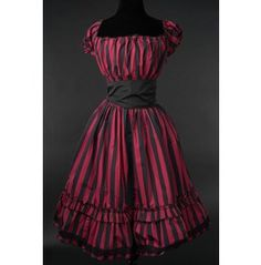 Red Black Striped Gothic Rockabilly Pirate Corset Dress $9 World Shipping $68.00