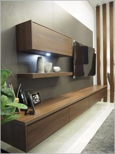 Cabinet design for small living room tv stand designs latest Living Room Wall Units, Living Room Tv Unit Designs, Living Room Cabinets, Tv Wall Cabinets, Living Rooms, Tv Wall Unit Designs, Tv Stand Ideas For Living Room, Living Room Decor Tv, Modern Tv Unit Designs