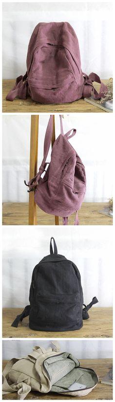 Vintage Canvas Backpack, Women Travel Backpack, School Backpack YY012