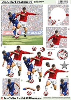 Art & Craft Supplies Free UK P&P Craft Pack of 9 3D Football Craft Embellishments Card Toppers Other Scrapbooking Embellishments