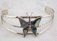 Alpaca Mexican Silver Cuff Bracelet Abalone Butterfly Fashion Jewelry NEW #Unbranded #Bangle