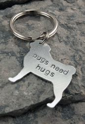 I Love My Pug Personalized Hand Stamped Necklace or Keychain