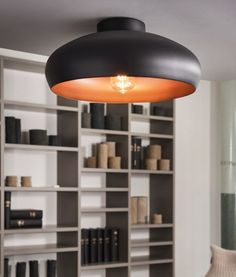 Round Semi Flush Two Tone Ceiling Light - Two Styles