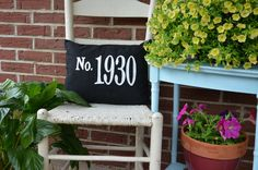 House Number Pillow Address Pillow by ParisCrossingDesign on Etsy