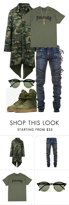 """""""Emerald City Taught Me."""" by monroestyles ❤ liked on Polyvore featuring Hood by Air, Balmain, Topman, Alexander McQueen, men's fashion, menswear, MensFashion and SFAF1"""