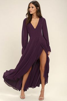 Lulus Exclusive! You'll be the life of the party thanks to your effervescent attitude and the Bubbly Babe Plum Purple Backless Maxi Dress! Sleek woven poly forms a princess seamed bodice, V-neck, and sheer long sleeves, atop a wrapping maxi skirt. Backless silhouette (with two top button closures) will have all eyes on you. Hidden back zipper/hook clasp.