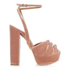 Aquazzura Mira knot velvet platform sandals (2.575 BRL) ❤ liked on Polyvore featuring shoes, sandals, light pink, velvet platform shoes, thick platform sandals, buckle shoes, high heel platform sandals and buckle platform sandals
