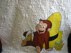 Curious George monkey blanket baby boy  quilt crib by fairyshred