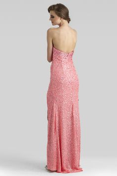 Clarisse 2014 Neon Pink Strapless Sweetheart Long Sequin Prom Dress with a Slit 2346 | Promgirl.net