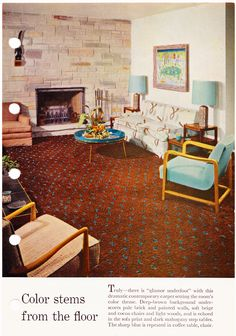 Better Homes & Gardens Decorating Book, 1956, Page 209 - This carpet is amazing, would love to have it in my living room.