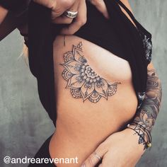 Half mandala underbreast tattoo by Andrea Revenant