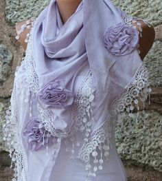 Lilac Scarf  Pure Cotton by fatwoman, $23.00. She has some of the most beautiful scarves I have ever seen.