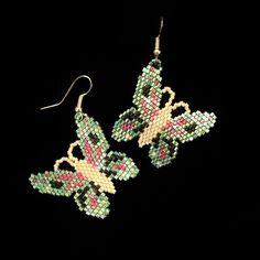 Iris Green Beaded Butterfly Earrings
