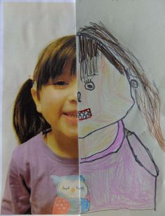 Face Drawing Half Self Portrait 1 - This is one of my favourite ever art projects! I wanted to teach my older group (aged 4 to 6 years) about the proportions of the human face, by looking closely at their own faces instead of just dr… Kindergarten Art, Preschool Art, Body Preschool, Projects For Kids, Crafts For Kids, Arts And Crafts, Group Art Projects, Portraits For Kids, Ecole Art