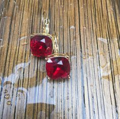 Vintage Goldtone drop earrings with large red by TheHavenFinds