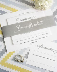 Classic Whimsy Wedding Invitations - Invitations with big script names in pewter gray