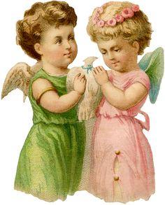 Vintage Angel Fairy Dove Image! - The Graphics Fairy