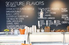 Custom Ice Cream Flavour's featured on a black board is a great way to attract your customers and keep your shop unique and exciting. www.darrylsicecreamsolutions.com