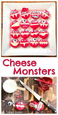 Cheese Monsters - healthy monster snacks for kids for a monster party or Halloween
