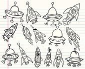 Cute Doodle Outer Space Set
