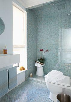40 blue glass mosaic bathroom tiles tile ideas and pictures 2019 Spa Like Bathroom, Mosaic Bathroom, Bathroom Photos, Budget Bathroom, Dream Bathrooms, Bathroom Interior, Bathroom Ideas, Small Bathrooms, Yellow Bathrooms