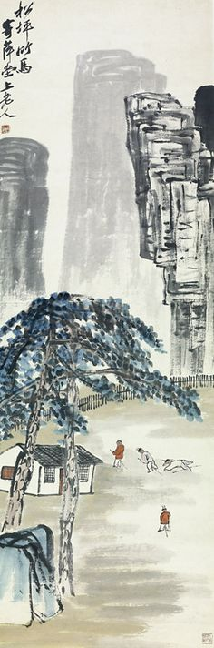 """Qi Baishi  """"Pine Grove and Hobbyhorse,""""  late 1920s Hanging Scroll   Ink and color on paper  55.51 x 19.09 inches"""