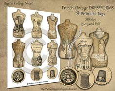 Dress Form Tags Printable French Vintage Mannequin by pixelmarket