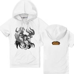 d15a0fe561c7 Game World of Warcraft white cotton hoodie for men plus size short sleeve