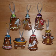 In The Hoop Sweet Ginger Nativity Ornament Embroidery Machine Design Set on Etsy, $9.99