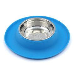 SuperDesign Single Stainless Steel Bowls in Non-Skid & No Spill Silicone Mat,for Small Dogs or Cats, Small, Blue -- For more information, visit image link. (This is an affiliate link and I receive a commission for the sales) Dog Water Bowls, Metal Bowl, Dog Dental Care, Dog Food Storage, Bowl Designs, Dog Shower, Dog Chew Toys, Dog Diapers, Dog Feeding