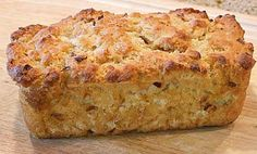 Onion & Fontina Beer Batter Bread:  extra-virgin olive oil, diced onions, all-purpose flour, granulated white sugar, baking powder, salt, fontina cheese, beer, butter