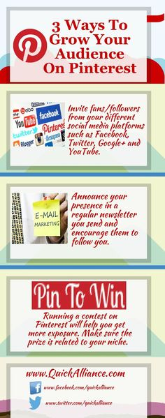3 Ways to Increase your Audience on #Pinterest http://www.quickalliance.com/3-ways-to-grow-your-audience-on-pinterest/ #smm