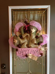 Country Burlap Happy Easter DecoMesh Wreath by CountryDecoMesh, $55.00