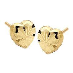 Ross-Simons - Diamond-Cut Snowflake Heart Studs in 14kt Yellow Gold - #015426