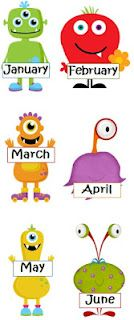 Monster months and ordinal numbers freebie.  Quite like the little monster theme for the classroom too!