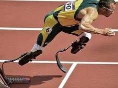 """Daily life:In this video you see Oscar Pistorius running in one of his races. He is a famous para athlete who runs without legs. He is nicknamed the """"blade runner"""". He was born in Johannesburg and took up running when he was 16. He got the gold medal in Athens 2004 when he was 16. He killed and shot his girlfriend which he recalls it as a mistake. He finally admitted to doing it and was thrown in jail. Start Video at 3:44"""