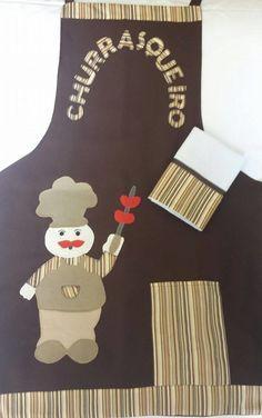 Avental masculino com aplicação de churrasqueiro, confeccionado com oxford e um pano de prato