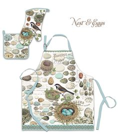 These aprons, potholders and oven mitts in natural woven cotton are sure to please! This is the Nest & Eggs pattern. #MichelDesignWorks