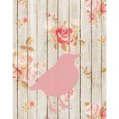 Pink Bird Floral Canvas Art - Tara Moss (22 x 28)