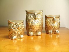 Vintage Brass Owl Figurines, Gold Owl Statues, Three Gold Owls, Brass Animal, Paperweights on Etsy
